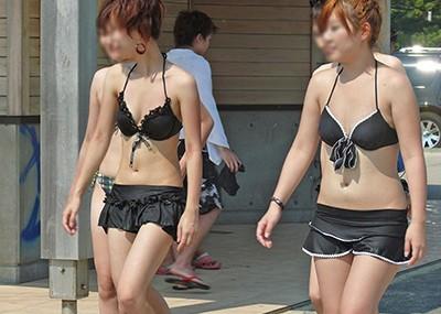 【素人水着エロ画像】素人娘たちの生々しい水着姿にズームイン!wwww